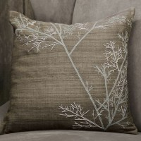 Embroidered Winter Branch Pillow Cover - Modern ...