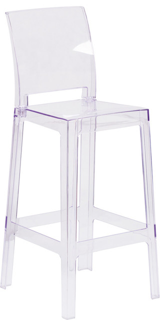 ghost bar chair recliner chairs perth stool with square back set of 4 transparent crystal contemporary outdoor stools and counter by mikga
