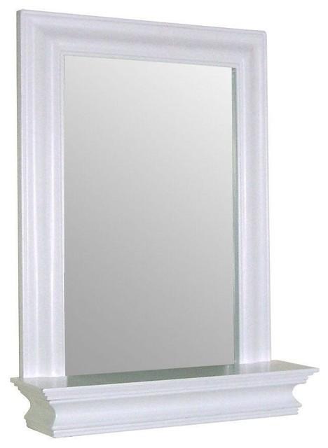 framed bathroom mirror rectangular shape with bottom shelf in white wood finish