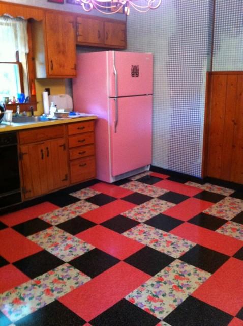 Vintage Kitchen Installed Flooring Vinyl Printed Vinyl Tile  Eclectic  Kitchen  New York  by