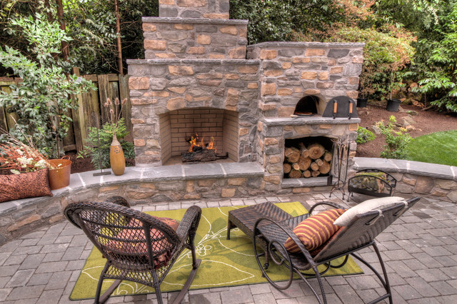 Outdoor Fireplaces Wood Burning Chairs Fireplace Box Ideas Outdoor Fireplace With Pizza Oven - Traditional - Patio