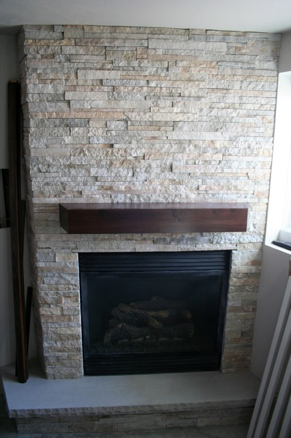 Stacked Stone Fireplace  Modern  Basement  Other  by Natural Stone Veneer Quarry Mill