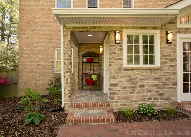 Brick and Stone Back Porch  Traditional  Patio