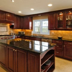 Stainless Steel Stools Kitchen Faux Brick Rich Cherry - Traditional Chicago By ...