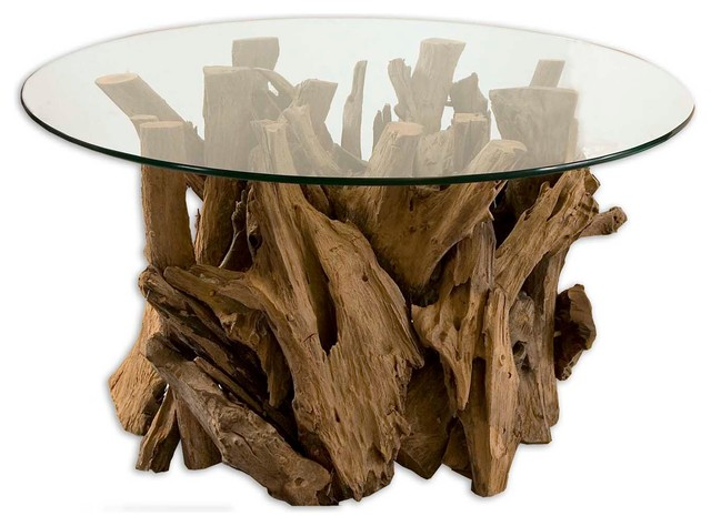 Uttermost Driftwood Glass Top Cocktail Table beach-style-coffee-tables