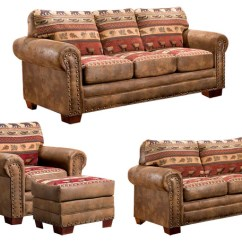 Lodge Living Room Furniture Placement With Corner Tv Sierra 4 Piece Set Sleeper Rustic Sets By American Classics