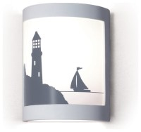 Bay Harbor Lighthouse/Boat Silhouette Wall Sconce - Beach ...