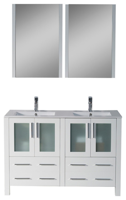 sydney 48 double vanity set with mirrors glossy white