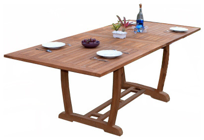 "94"" Masc Double Extension Rectangle Dining Outdoor Teak Table"