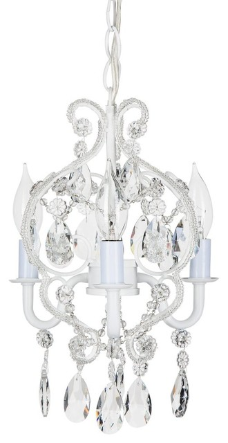 Amalfi Decor Tiffany 3 Light Mini Beaded Crystal Chandelier White Chandeliers