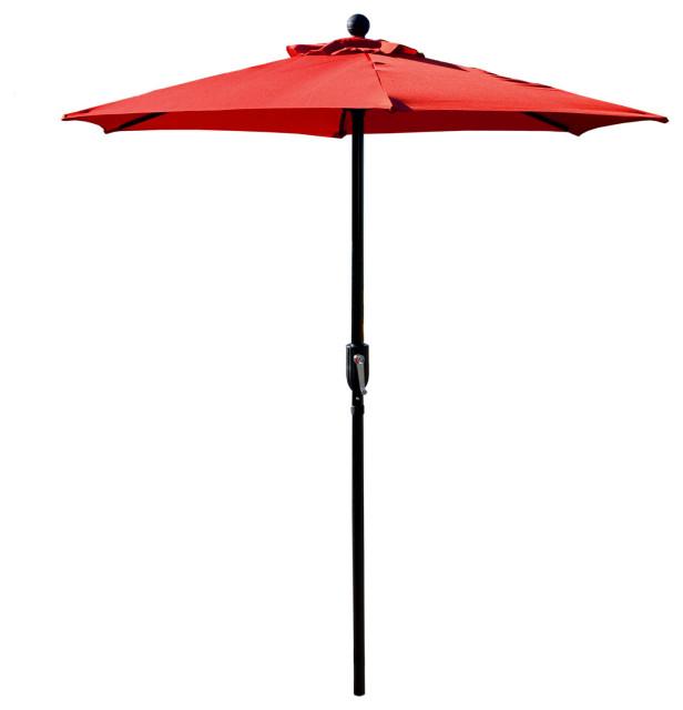 6 5 red patio metal umbrella with crank