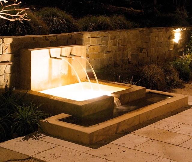 Patio Stone Wall Lighting Sitting Installation