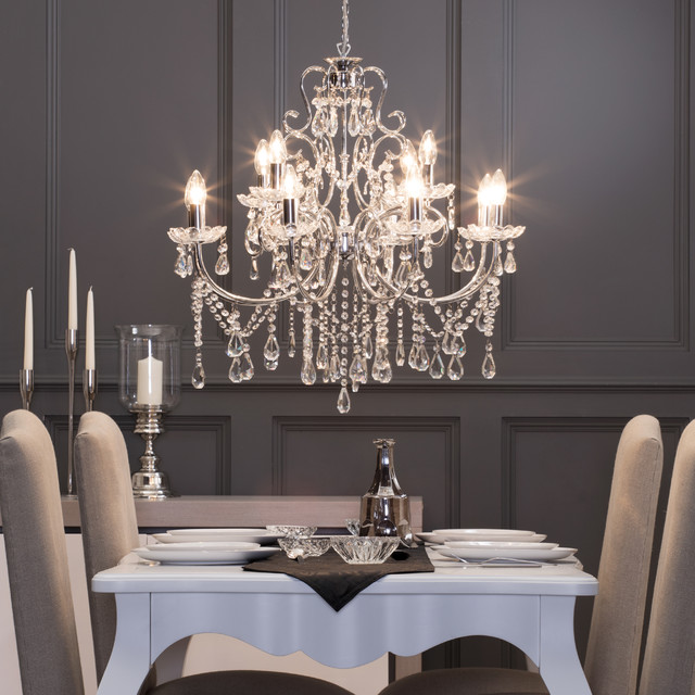 12 Light Madonna Chandelier In Chrome Victorian Dining Room