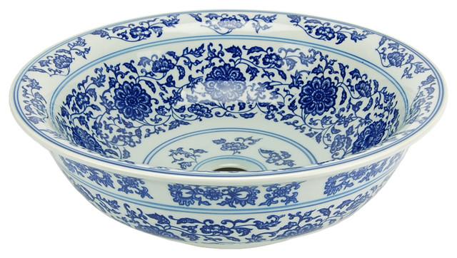 antiqued blue and white porcelain bathroom vessel sink