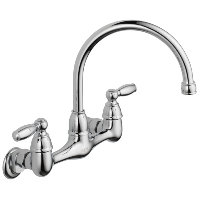 delta claymore two handle wall mounted kitchen faucet chrome p299305lf