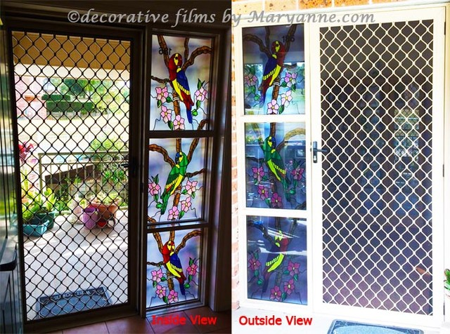 Cross Design On Privacy Material Decorative Window Film
