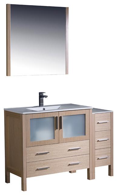 Torino 48 Light Oak Modern Bathroom Vanity Side Cabinet Integrated Sink Contemporary Bathroom Vanities And Sink Consoles By Bathroom Marketplace