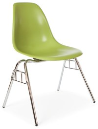 Molded Shell Stacking Dining Side Chair, Green ...