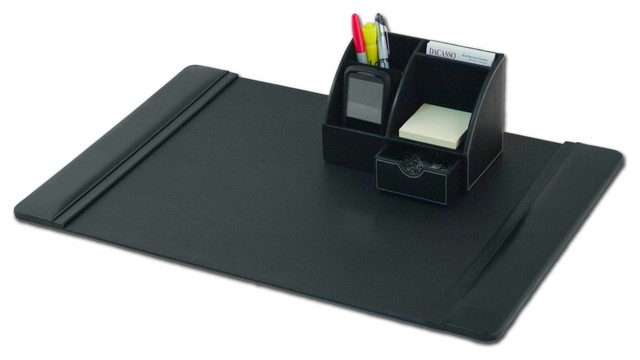 Modern Desk Organizer Black Leather 2-piece Desktop Organizer Desk Set - Modern