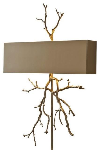 modern twig branch sculpture wall sconce light bronze brass organic shape plug