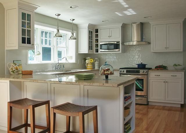 White Coastal Kitchen  Traditional  Kitchen  boston
