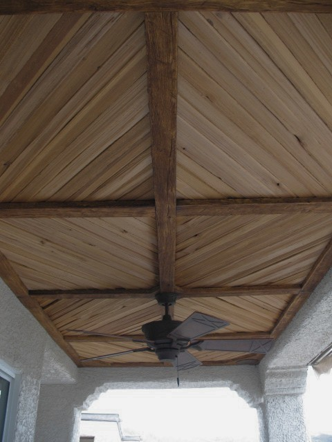 Covered Patio with Faux Wood Beam and Plank Ceiling  Rustic  Patio  new york  by FauxWoodBeams