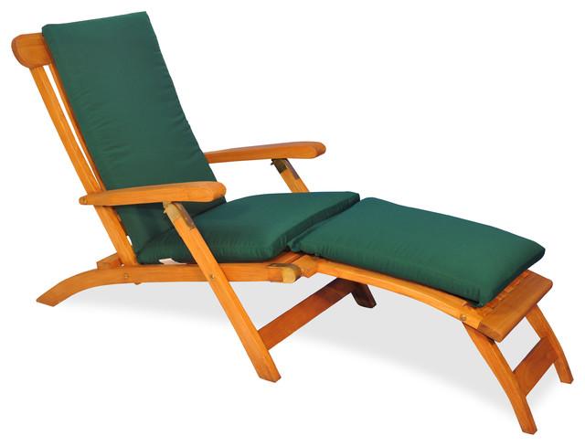 teak steamer chair tullsta cover ikea uk chaise lounge with sunbrella cushion canvas forest green