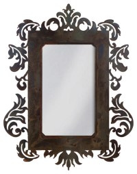 """Wrought Iron Mirror Damask Style 36"""" Mirror With Rust ..."""