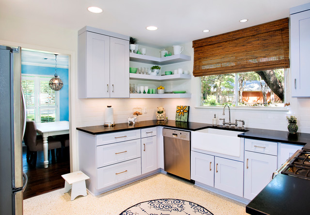 Contemporary Cool Grey Kitchen Floating Shelves Contemporary