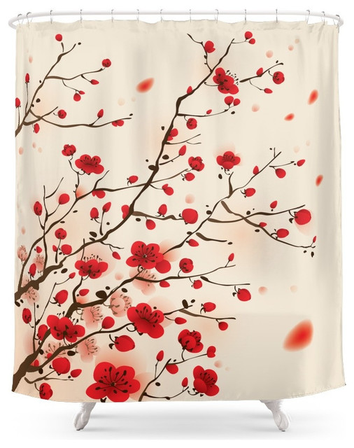 Society6 Oriental Plum Blossom In Spring Shower Curtain Asian