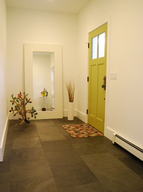 Eclectic foyer with slate floor and bright green door  Modern  Entry  Boston  by studio m