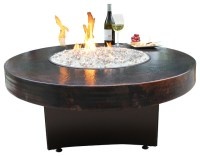 Oriflamme Gas Fire Pit Table, Hammered Copper - Rustic ...