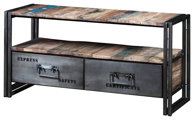 Boris Recycled Wood And Metal 2-Drawer TV Unit