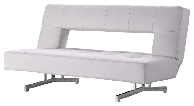 leather chair bed sleeper glider parts canada 0926 white eco sofa modern futons by new york