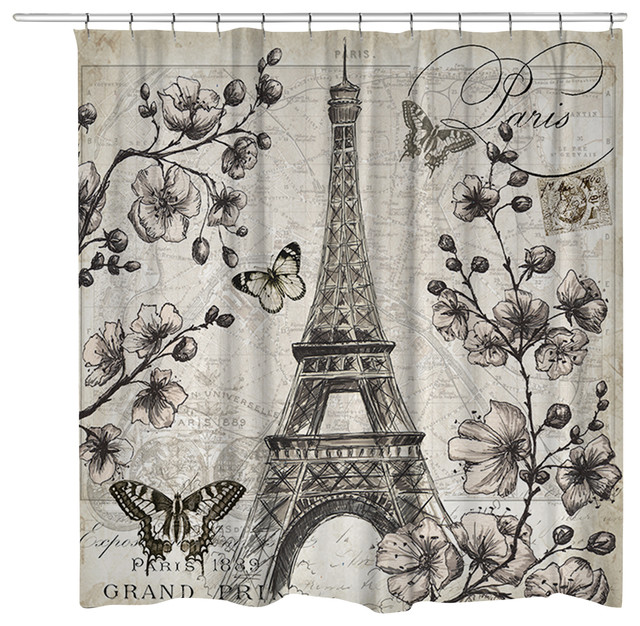 Laural Home Paris In Bloom Shower Curtain Shower Curtains Houzz