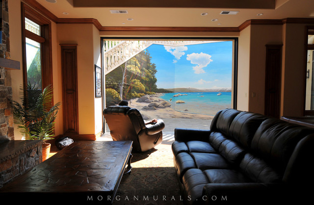 Lake Tahoe Wall Mural  Contemporary  Basement  San Francisco  by Morgan Mural Studios