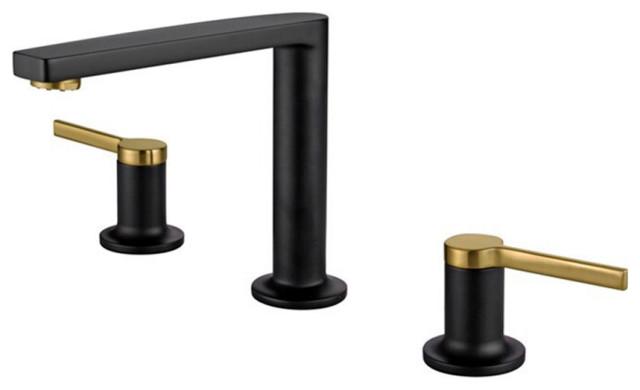 fontana napoli black gold double handle sink faucet