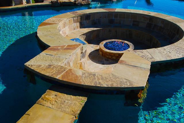 fire pit and chair set caravan zero gravity 2 pack structure inside pool - tropical dallas by allison landscape & company