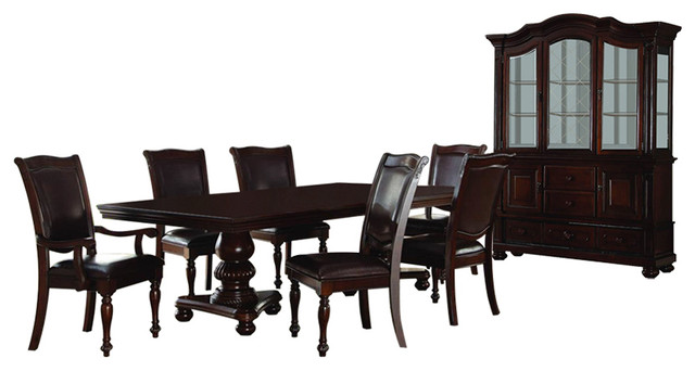 Homelegance Lordsburg 8 Piece Double Pedestal Dining Room Set Dark Brown Traditional Dining Sets By Beyond Stores