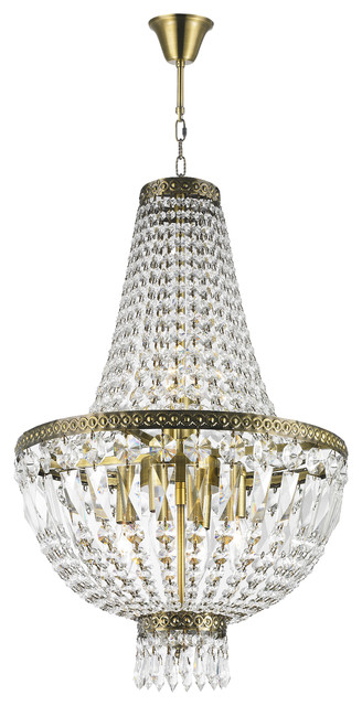 French Empire 6 Light Antique Bronze Finish Clear Crystal Basket Mini Chandelier Traditional Chandeliers
