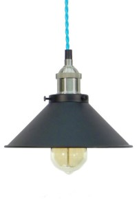 Turquoise/Nickel/Black Shade Pendant Light - Farmhouse ...