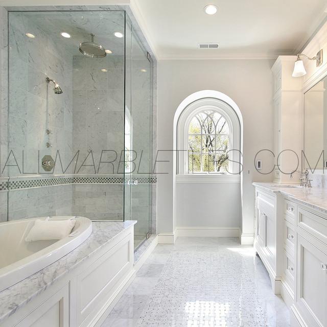Bianco Carrara Tile Design Ideas  Contemporary  New York
