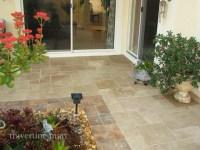 Walnut Brushed & Chiseled Travertine Tile - Patio Flooring ...