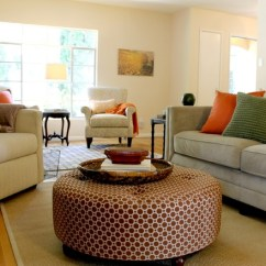 Living Room Without Coffee Table Ideas Pottery Barn Geometric Pattern Ottoman In Updated Traditional
