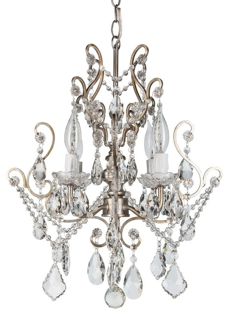 Theresa 4 Light Wrought Iron Crystal Chandelier Silver Mediterranean Chandeliers