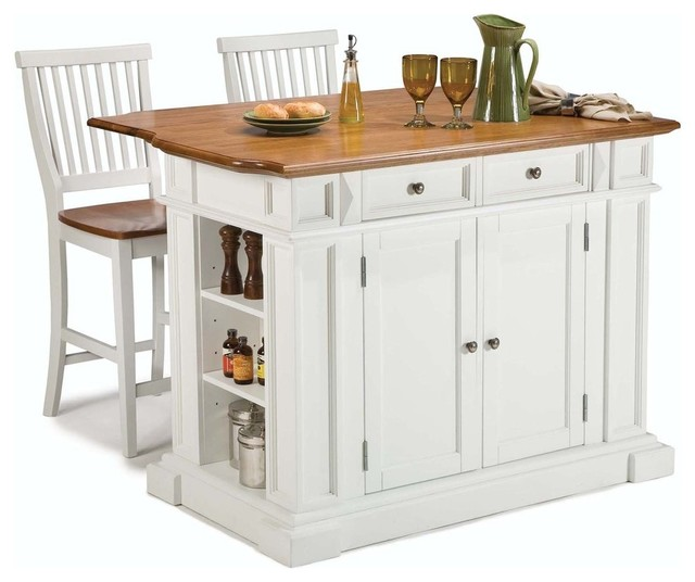 New York 3 Piece Kitchen Island And Stool Set White And Oak
