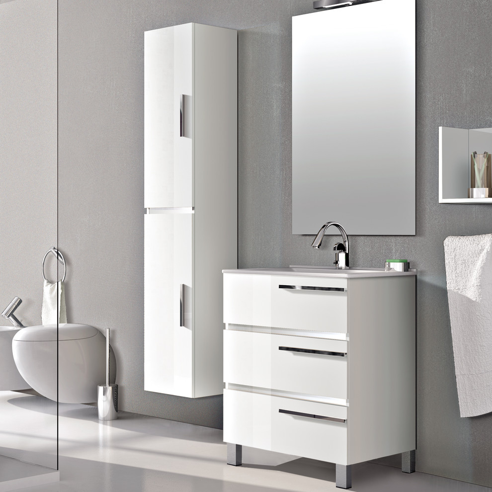 Eviva Olivia 24 White Free Standing Bathroom Vanity With White Porcelain Sink Modern Bathroom Vanities And Sink Consoles By Decors R Us