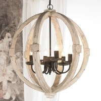 White Washed Wood Sphere Chandelier - Chandeliers - by ...