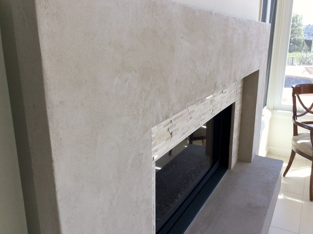 American Clay Plaster Contemporary Fireplace surround