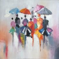 IICART - Abstract Hand Painted Rain in Memory Wall Decor ...